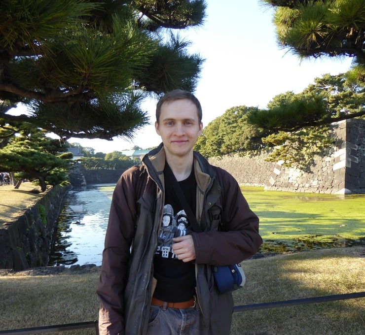 Darren Lester outside the Tokyo Imperial Palace.